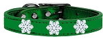 Snowflake Widget Genuine Metallic Leather Dog Collar Emerald Green 12